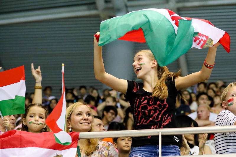 Spectators supporting their home country Hungary during at the FINA Airweave Swimming World Cup, at OCBC Aquatic centre Singapore. Photo by Sanketa Anand/Sport Singapore