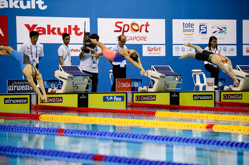 Athletes in action during Women's 200m Butterfly Finals at the FINA Airweave Swimming World Cup, at OCBC Aquatic centre Singapore. Photo by Sanketa Anand/Sport Singapore