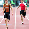 "Alex Mead, left, of Mead runs to first place finish in the 3A boys 100 dash, during the last day of the 2012 Colorado High School State Track & Field Championships at Jefferson County Stadium. Photo by Paul Aiken / The Boulder Camera / may 19 2012<br /> Photo more photos go to  <a href=""http://www.dailycamera.com"">http://www.dailycamera.com</a>"