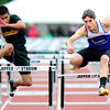 "Matt Radich, right, of Lyons, at right runs to a first place finish in the 2A boys 110 hurdles during the last day of the 2012 Colorado High School State Track & Field Championships at Jefferson County Stadium. Photo by Paul Aiken / The Boulder Camera / may 19 2012<br /> Photo more photos go to  <a href=""http://www.dailycamera.com"">http://www.dailycamera.com</a>"
