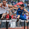 Longmont's Branden Hitchcock clears a hurdle during the 4A Boys 300 Meter Hurdles during the last day of the 2012 Colorado High School State Track and Field Championships at Jefferson County Stadium on Saturday, May 19, 2012. Hitchcock placed second in the event.<br /> <br /> (Greg Lindstrom/Times-Call)