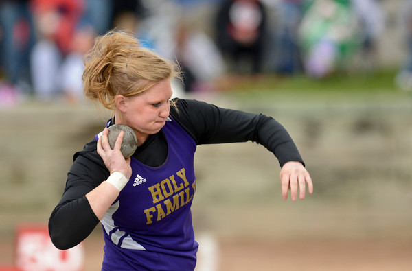 Holy Family's Alexis Gerry throws during the 3A girls shot put during the last day of the 2012 Colorado High School State Track and Field Championships at Jefferson County Stadium on Saturday, May 19, 2012. Gerry finished fourth in the event.<br /> <br /> (Greg Lindstrom/Times-Call)