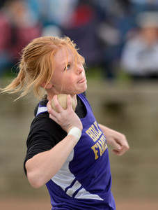 Holy Family's Katrina Gallic throws during the 3A girls shot put during the last day of the 2012 Colorado High School State Track and Field Championships at Jefferson County Stadium on Saturday, May 19, 2012. Gallic finished seventh in the event.  (Greg Lindstrom/Times-Call)