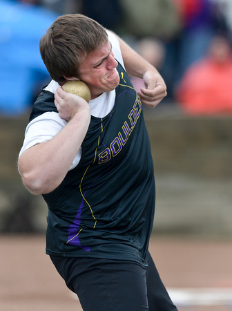 Boulder's Hans Lehndorff throws the shot put during the last day of the 2012 Colorado High School State Track and Field Championships at Jefferson County Stadium on Saturday, May 19, 2012..<br /> <br /> (Greg Lindstrom/Times-Call)