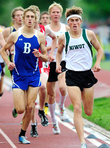 Nick Harris of Niwot runs to a first place finish in the 4A boys 1,600 run, during the last day of the 2012 Colorado High School State Track & Field Championships at Jefferson County Stadium. Photo by Paul Aiken / The Boulder Camera / may 19 2012 Photo more photos go to www.dailycamera.com