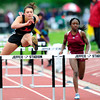 "Justine Sherman, left,  of Fairview High School runs to a 7th place finish in the 5A girls 100 hurdles during the last day of the 2012 Colorado High School State Track & Field Championships at Jefferson County Stadium. Photo by Paul Aiken / The Boulder Camera / may 19 2012<br /> Photo more photos go to  <a href=""http://www.dailycamera.com"">http://www.dailycamera.com</a>"