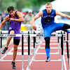"Josh Cogdill, right, of Longmont, runs to a 5th place finish in the 4A boys 110 hurdles during the last day of the 2012 Colorado High School State Track & Field Championships at Jefferson County Stadium. Photo by Paul Aiken / The Boulder Camera / may 19 2012<br /> Photo more photos go to  <a href=""http://www.dailycamera.com"">http://www.dailycamera.com</a>"