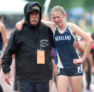 Kelley Robinson, of Nederland finished second in the  2A girls 1,600 run during the last day of the 2012 Colorado High School State Track & Field Championships at Jefferson County Stadium. Robinson finished second. Photo by Paul Aiken / The Boulder Camera / may 19 2012 Photo more photos go to www.dailycamera.com