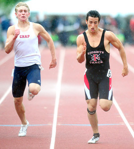 Ben Meyer, of Fairview at right, runs to a second place finish in the 5A boys 100 dash, during the last day of the 2012 Colorado High School State Track & Field Championships at Jefferson County Stadium. Photo by Paul Aiken / The Boulder Camera / may 19 2012 Photo more photos go to www.dailycamera.com