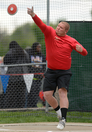 Skyline's Chico Feltenberger throws during the 4A boys discus during the last day of the 2012 Colorado High School State Track and Field Championships at Jefferson County Stadium on Saturday, May 19, 2012..<br /> <br /> (Greg Lindstrom/Times-Call)