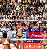 Women's championship - Misty May (serving) & Kerri Walsh, Jie Wang