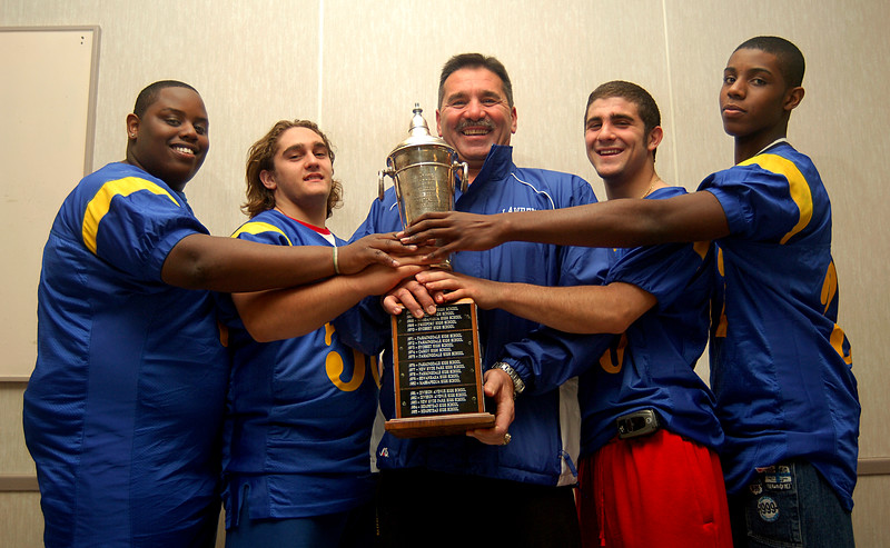 L-R Malik Crowl, Levy Messinetti, Head Coach Lou Andre, Brian DiSabato, and Travis Kennedy. Rutgers Cup, 2006. Photo by Kathy Leistner.