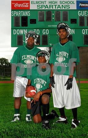 L-R Andrew Prosper, Marvin Lee, and Tyshaun Mack. Elmont HS. Photo by Kathy Leistner