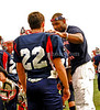 #22 Ryan Michelman hears a few tips from Cocah Ed Leach. Island Park Patriots vs Hicksville, September 16th, 2007. Photo by Kathy Leistner