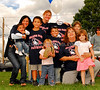 Island Park Patriot Fans - L-R Carolyn Leach (wife of Head Coach Ed Leach) and son Jordan Leach, Thomas Ruthrig, 8, Maryanne Baldino, Evelynne Baldino 3. , Dylan Ruthrig, 5, Barbara Ruthrig, Dominique Baldino, 5 Cassandra Baldino, 8. Island Park Patriots vs Hicksville, September 16th, 2007. Photo by Kathy Leistner