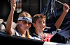 L-R  Homecoming Freshman Princess Blake Breitman, Homecoming Freshman Prince, Brenden Strauss. Hewlett High School Homecoming Parade. September 29th, 2007. Photo by Kathy Leistner