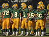 4th Quarter, L-R Mike Jang #8 QB Jake Stern, Junior, #11 Remy Grossi, #25, Esteban Vega, Junior, three extra points, and one TD, #30 Jeffrey Ballard. Lynbrook vs New Hyde Park 35-0. September 29th, 2007Photo by Kathy Leistner