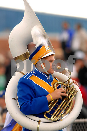 Sal Capozzi, on tuba. LHS Marching Band Half time show. Lawrence HS Football vs Garden City, October 13th, 2007. 27-2. Photo by Kathy Leistner