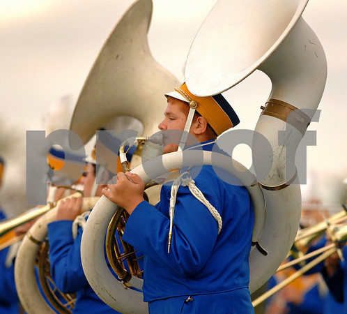 Patrick Locoteta, on tuba. LHS Marching Band Half time show. Lawrence HS Football vs Garden City, October 13th, 2007. 27-2. Photo by Kathy Leistner