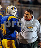LHS Head Coach Lou Andre intensely explains a play to #60 Senior Joe McHugh. Lawrence HS vs Garden City, November 16th, 2007. Nassau Conference II Championships. Hofstra Shuart Stadium. Photo by Kathy Leistner