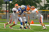 #11 DHS tackled by L-R CHS #10, #37, #34. Carey HS vs Division Ave. HS, 26-6, at Division. September 27th, 2008. Photo by Kathy Leistner.