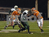 173b #3 James Myers_EHS #34 #40 CHS.  Elmont HS Football Semi-Final Nassau County Championships vs Carey HS. November 15th, 2008. Shuart Stadium, Hofstra. Photo by Kathy Leistner.