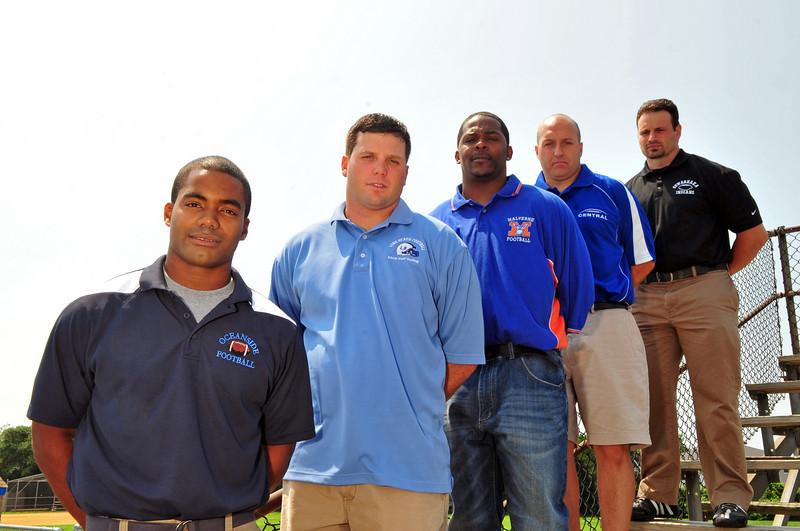 New area football coaches: Robert Blount (Oceanside), Frank Chimienti (VSC), Scott Martin (LBeach), George Kasimatis (Sew) and  Kito Lockwood (Malv). Photo by Kathy Leistner