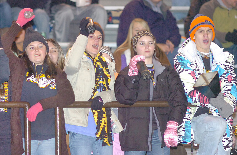 Sullivan North Raider fans make noise with shakers and cow bell as they support their team in the TSSAA state quarter-finial played at North. Photo by Ned Jilton II