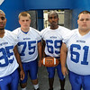 TIM JEAN/Staff photo. Methuen High School 2012 football team captains from left to right, Giovanny Rivera, Dicky Aziz, Sam Weeks, and Anthony Giorgio. 9/6/12