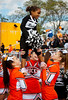 Mischa Morton, Raider Cheerleader with ERHS Varsity Cheerleaders L to R Stefanie Ortiz, Gina Skelly, Nicole Capone. East Rockaway High School Homecoming, October 22nd, 2011. ERHS vs WT Clarke HS, 27-21. Photo by Kathy Leistner