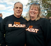 East Rock Blackout supporters alumni Stephen Raimondi, Class of 1980, and wife Pamela. East Rockaway High School Homecoming, October 22nd, 2011. ERHS vs WT Clarke HS, 27-21. Photo by Kathy Leistner