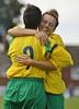 Sarah Lojko celebrates after scoring Stourbridge Ladies opening goal