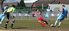 City's Dave Theobald clears just as Luke Benbow is about to take a 2nd minute shoot