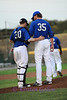 Catcher Scott Dalrymple gives relief pitcher Rick Bauer encouragment before taking over the pitching duties.