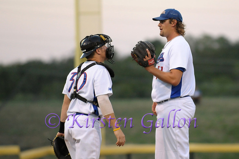Scott has a short chat with Blake to settle him down after a few Roadrunner players get hits off Blake.