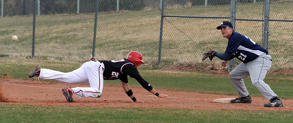 """Brian Sture of Fairview gets back safely to first because the ball gets past  Jeremy Hochmuth of Air Academy.<br /> For more photos of the game, go to  <a href=""""http://www.dailycamera.com"""">http://www.dailycamera.com</a>.<br /> Cliff Grassmick/ March 30, 2011"""