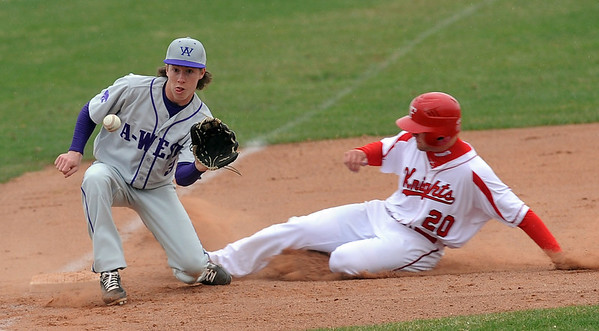 "Brian Sture of Fairview is safe at third before the throw gets to Joe Yacano of Arvada West.<br /> For more photos of the game, go to  <a href=""http://www.dailycamera.com"">http://www.dailycamera.com</a>.<br /> Cliff Grassmick/ April 6, 2011"