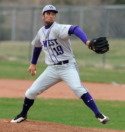 """Sean Leary of Arvada West pitches against Fairview.<br /> For more photos of the game, go to  <a href=""""http://www.dailycamera.com"""">http://www.dailycamera.com</a>.<br /> Cliff Grassmick/ April 6, 2011"""