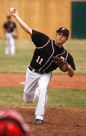 Fairview's Will Stoorman,11, throws a pitch during the second inning of the game verses Plattsmouth, Saturday, March. 17, 2012, Lafayette. <br /> Derek Broussard/ Camera
