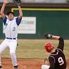 Fairview's Anderas Hill, 9, slides into second base as Plattsmouth Garett Walker, 3, jumps for the ball, Saturday, March. 17, 2012, Boulder. <br /> Derek Broussard/ Camera
