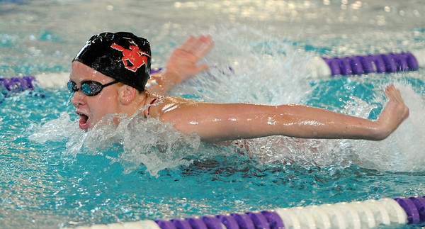 "Berkley Gamble, of Fairview, swims the butterfly in the medley relay.<br /> For more photos of the meet, go to  <a href=""http://www.dailycamera.com"">http://www.dailycamera.com</a>.<br /> January 5, 2012 / Cliff Grassmick"