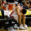 Fairview's Darragh O'Neill holds ice onto his injured ankle during the final minutes of the game against Aurora Central during the semifinals of the boys 5A State Championships at the Coors Event Center on the University of Colorado campus in Boulder, Thursday, March 11, 2010. <br /> <br /> KASIA BROUSSALIAN