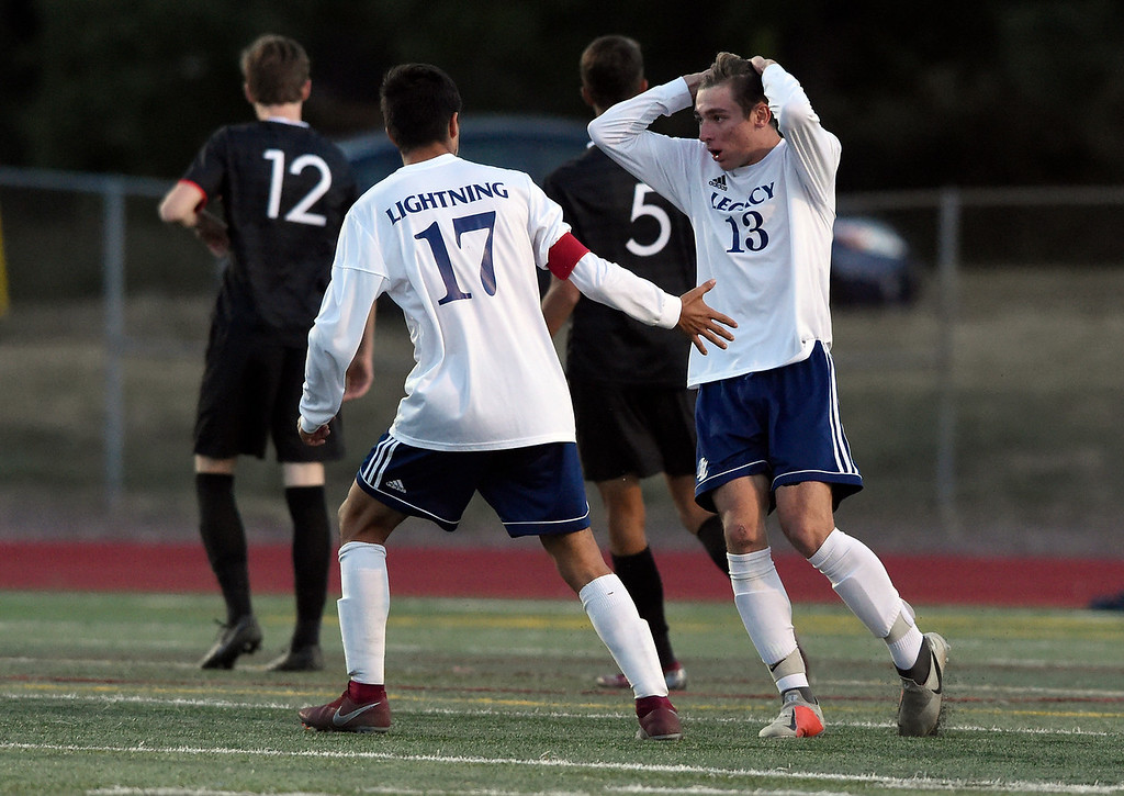 . BOULDER, CO - SEPTEMBER 25, 2018: Legacy High School\'s Hunter Hance reacts after narrowly missing a goal during a game against Fairview on Tuesday in Boulder. More photos: BoCoPreps.com (Photo by Jeremy Papasso/Staff Photographer)