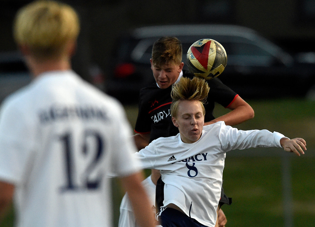 . BOULDER, CO - SEPTEMBER 25, 2018: Legacy High School\'s Andrew Kehmeier heads the ball during a game against Fairview on Tuesday in Boulder. More photos: BoCoPreps.com (Photo by Jeremy Papasso/Staff Photographer)