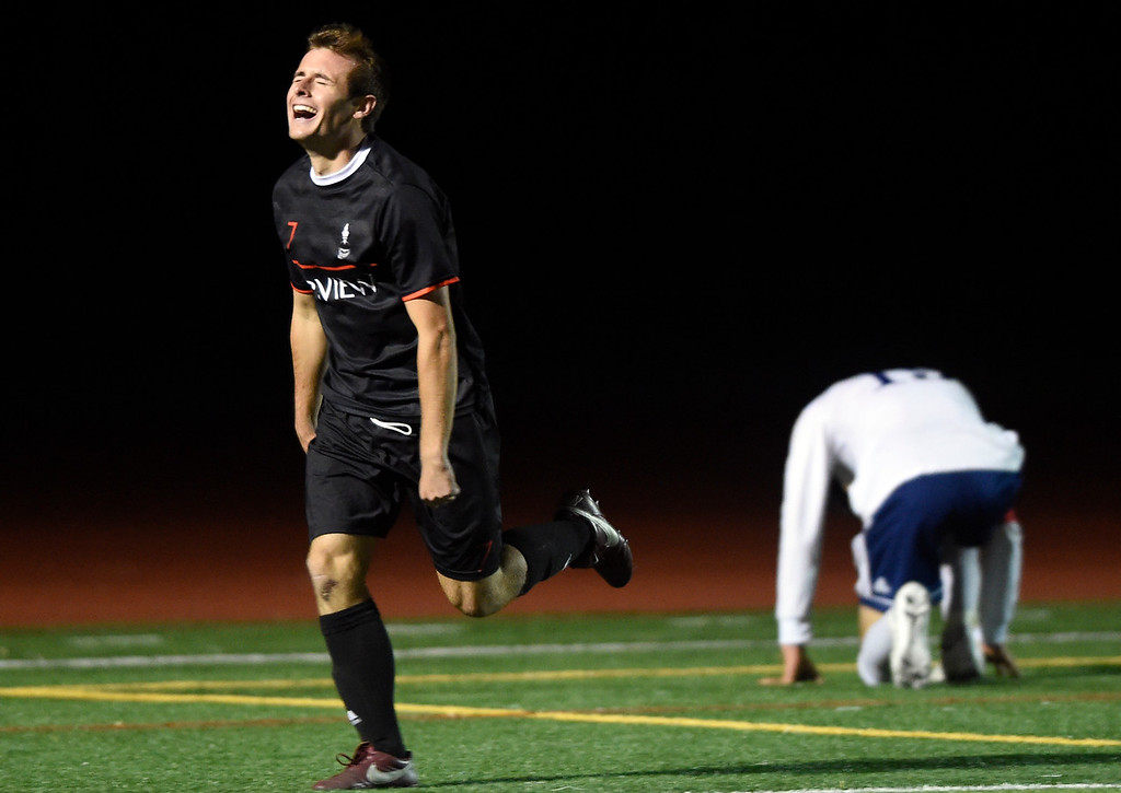 . BOULDER, CO - SEPTEMBER 25, 2018: Fairview High School\'s Cooper Harmon celebrates a goal during a game against Legacy on Tuesday in Boulder. More photos: BoCoPreps.com (Photo by Jeremy Papasso/Staff Photographer)