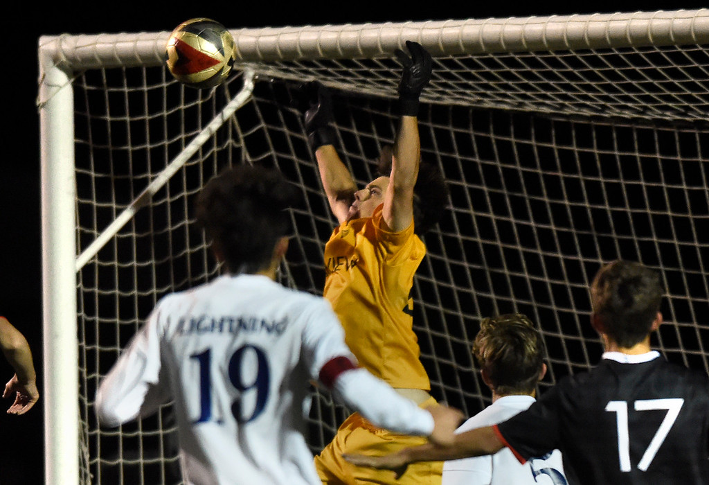 . BOULDER, CO - SEPTEMBER 25, 2018: Fairview High School goalkeeper Carter Melton makes a save during a game against Legacy on Tuesday in Boulder. More photos: BoCoPreps.com (Photo by Jeremy Papasso/Staff Photographer)