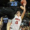 """Shane O'Neill of Fairview gets Austin Miller of Grandview up in the air for a foul.<br /> For more Fairview photos, go to photo galleries at  <a href=""""http://www.dailycamera.com"""">http://www.dailycamera.com</a>.<br /> Cliff Grassmick / March 5, 2010"""