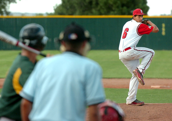 """Fairview Hisco pitcher Clay Jeanette winds up for a pitch on Friday, July 22, during a game against Greeley GoJo Sports at Fairview High School in Boulder. Fairview defeated Greeley 8-7. For more photos of the game go to  <a href=""""http://www.dailycamera.com"""">http://www.dailycamera.com</a><br /> Jeremy Papasso/ Camera"""