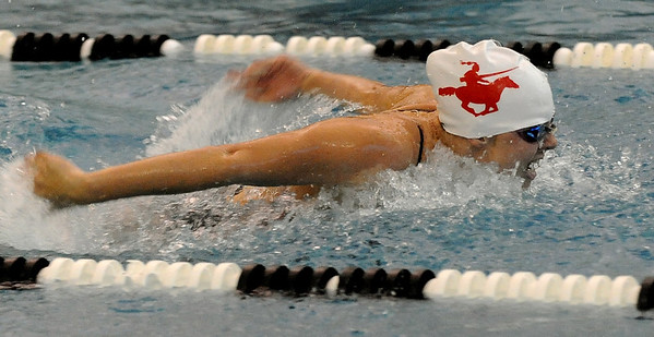 "Taylor Bissert of Fairview does the butterfly in the 200-yard medley relay on Friday.<br /> For more photos of the meet, go to  <a href=""http://www.dailycamera.com"">http://www.dailycamera.com</a>.<br /> Cliff Grassmick / December 3, 2010"