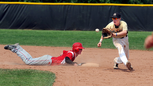 "Anders Hill of Fairview gets back to second before the ball gets to Jeff Manders of Monarch.<br /> For a photo gallery of the game, go to  <a href=""http://www.dailycamera.com"">http://www.dailycamera.com</a>.<br /> Cliff Grassmick / July 16, 2011"
